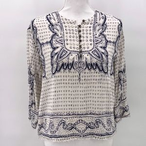 Anthropologie   Maeve Blue White Mixed Heart Top S